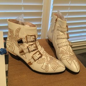 Shoes - Gold Studded Leather White Rivet Buckle Booties